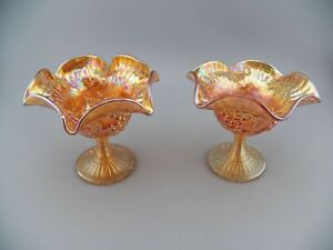 Pair (2) VTG Marigold Carnival Glass Pinched Ruffled Edge Compotes Grape & Leaf