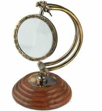 Antique Brass Adjustable Magnifying Glass Vintage Nautical Table Decor Magnifier