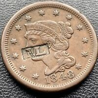 1848 Large Cent Braided Hair One Cent 1c  Counterstamped M L #23033