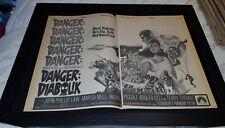 Danger Diabolik Rare Original 1968 Promo Poster Ad Framed!