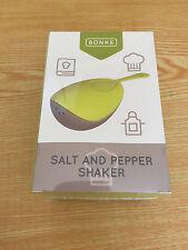 Bonke Salt and Pepper Shaker with Wooden Coaster Smart Kitchen Jar - Yellow
