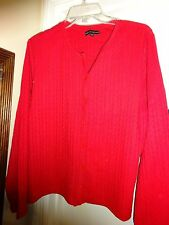 Carolyn Taylor RED Ladies Button Front Cardigan Sweater Size XL Long Sleeve