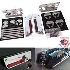 Saddle bag Latch Lids Hardware Hinge Lock Kit Set For Harley Touring Model 94-13