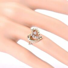 Genuine 14K Yellow Gold Diamond Heart Shape Cocktail right hand RING