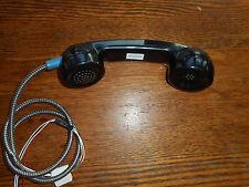 VINTAGE PHONE BOOTH RECEIVER BLACK, ORIG. METAL CORD & WIRING, NEW OLD STOCK