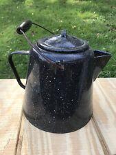 Vintage Large Graniteware Black Enamel Ware Coffee Pot Cowboy Kettle Wood Handle