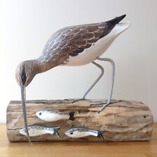 ARCHIPELAGO  Wood Carving CURLEW FISHING D379 bird watching gift