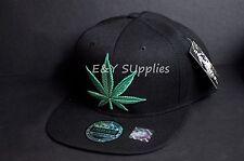 New MARIJUANA Leaf Snapback Cap Hat 420 Weed Dope Green Black