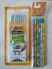 New Bic XtraFun Stripes Erasable #2 Pencils NonToxic, Resistant+Dr Seuss Pencils
