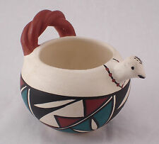 Acoma New Mexico Signed Mickey Bird vessel cup Hand Painted pueblo clay pottery