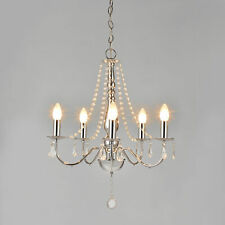 Eleganter Kristall + Chrom Kronleuchter Lüster Deckenleuchte Hängeleuchte Lampe