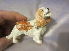 Cavalier King Charles Spaniel Dog Enameled Trinket Box w/ Rhinestones Gift New N
