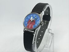 Vintage Snoopy Timex Peanuts Schulz 1958 Wind Up Watch Woodstock Dog House Blue