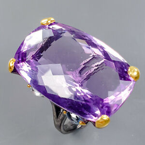 34ct+ Handmade Amethyst Ring Silver 925 Sterling  Size 8.5 /R177843