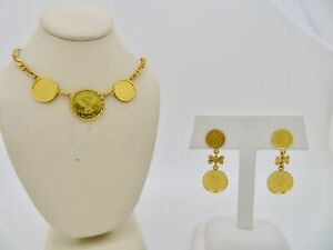 """22K Yellow Gold """"Prize Jewellery Modern Flower"""" Matching Earrings & Necklace"""