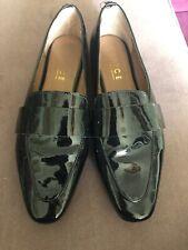 Office Black Patent Loafer Slipon Flat Shoes 5 38