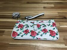 BNWT GUESS Clutch Bag Purse Handbag Purse.With key ring bag charm. White / red.