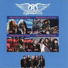 More details for chad music stamps 2021 mnh aerosmith rock band steven tyler 4v impf m/s