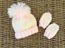 HAND KNIT NEWBORN BABY  GIRLS PEACH AND CREAM STRIPED POM POM  HAT AND MITTS