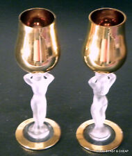 PAIR OF BAYEL FRANCE ~CRYSTAL & GOLD NUDE WOMAN CORDIAL GLASSES