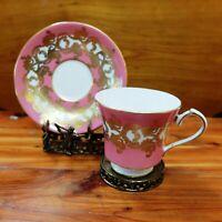 Vintage Aynsley Dark Pink Heavy Gold Gilding Demitasse  Cup & Saucer