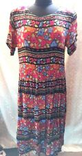 Bryn Connely Womens  Large Multicolored Floral Dress L Brigtht Colorful Vtg