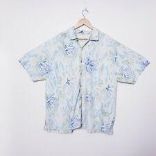 Tommy Bahama Mens 2XL XXL Blue Hawaiian Mosaic Palms Floral 100% Silk Shirt