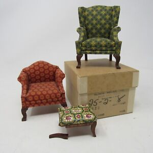 Vintage Dollhouse Furniture Block House Lynnfield Manufacturer CHAIRS FOOTSTOOL