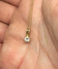 """14kt Fine Gold 16"""" Chain With Real Diamond Solitaire Pendant"""