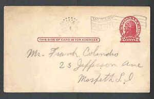 Ca 1919 PC UX29c VERMILION W/MILITARY FLAG CANCEL CATS $140. W/DOMESTIC CANCEL