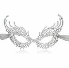 M093 Crystal Alloy Venetian Mask Masquerade Black Ribbon for Prom Ball Party