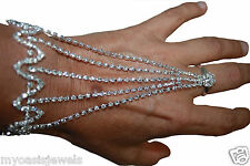 2x Rhinestone Slave Love Harems Finger Bracelet Belly Dance Exotic Crystal