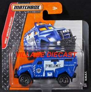 2015 Matchbox #65 S.W.A.T. BLUE / POLICE / SHORT CARD / MOC