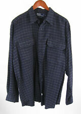 Polo Ralph Lauren Navy Blue Checkered L/S Western Cowboy Shirt Men's Size L