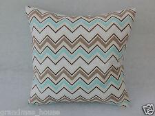 Aqua Grey Taupe Chevron Cushion Cover - 40cm x 40cm Great Gift!! 100% Cotton