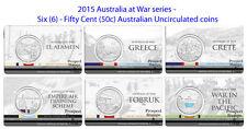 2015 Australia at War series - Six (6) Fifty Cent (50c) Australian UNC coins