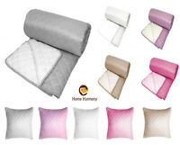 New Luxury Quilted Plain Sherpa Backed Large Furniture Sofa Bed Throw Blanket