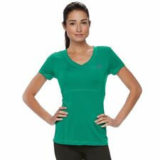FILA SPORT Women's Emerald Green Moisture Wicking Mesh Tee Top  Size S