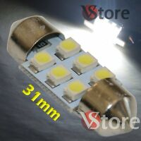 2 LED Festoon 31mm 6 SMD BIANCO Lampade Luci Xenon Lampadine Interno Targa