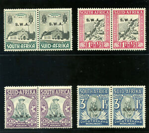 S.W.A. 1935 KGV set complete in bilingual pairs MLH. SG 92-95. Sc B1-B4.