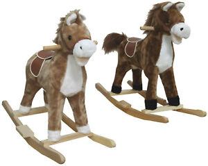 Kinder Schaukelpferd Schaukeltier Schaukel Pferd Braun Wiehern Schwanz wedeln