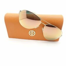 Tory Burch 6048 3146R5 Satin Gold Mirror 59mm New Sunglasses Authentic