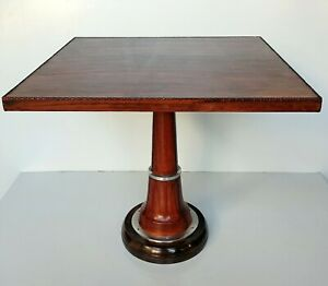 Square Wooden Leather Stitched Brown Coffee Table Bar Café Decorative Designer