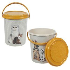 11 Litre Large Animal Pet Cat Dog Food Cracker Storage Jars Lid Dispenser Design