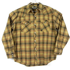 Western Trails Men's Shirt XL Pearl Snap Plaid Browns Long Sleeve Yokes Pockets