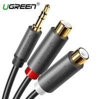 Ugreen 3.5mm Male to 2RCA Female Stereo AUX Audio Cable Y Adapter Fr Tablet PC