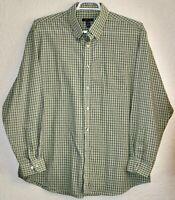 Van Heusen Button Up Dress Shirt Mens XL Sz 17.5  34/35 L/S Green Blue Plaid EUC