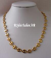 Collier chaîne bijou homme mixte gros maillon grain de café acier inox doré or