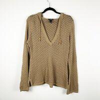 Athleta Womens Crochet Hooded V-Neck Pullover Sweater Organic Cotton Sz XL