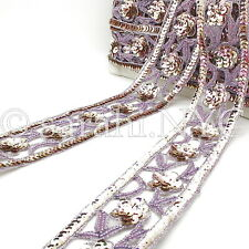 Lilac Iridescent Sequin Beads Fabric Trim trimming,Embellishment,co stume,pageant